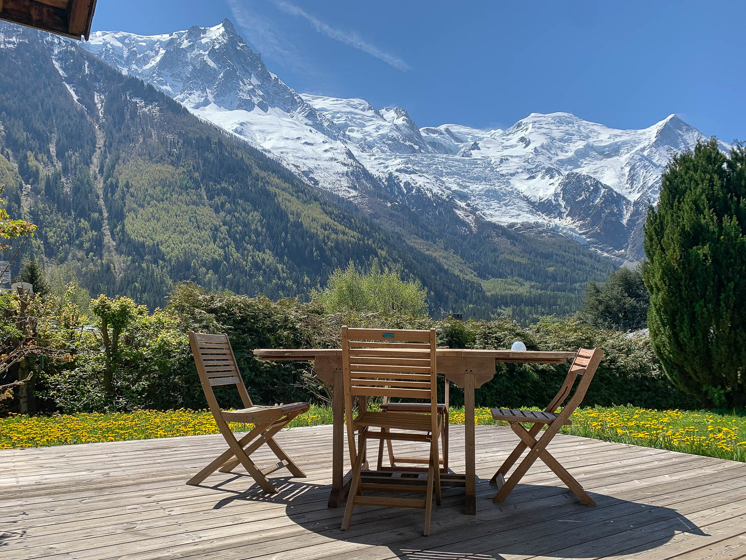 Beautiful sunny terrace of the chalet for sale near Chamonix centre