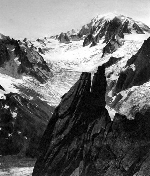 panorama of the Chamonix valley and surrounding mountains