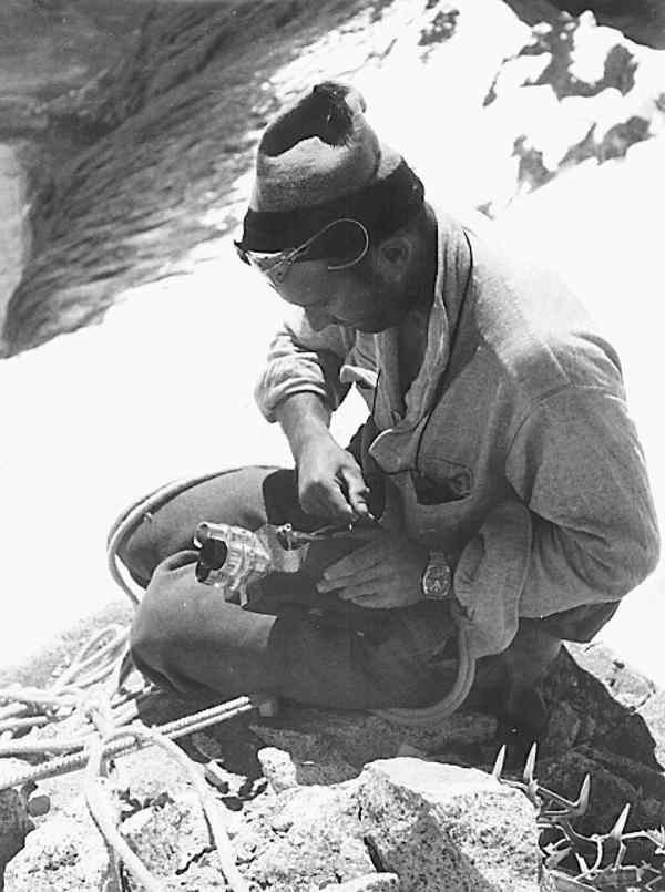 Historic photo of a man in the Mont Blanc mountain range