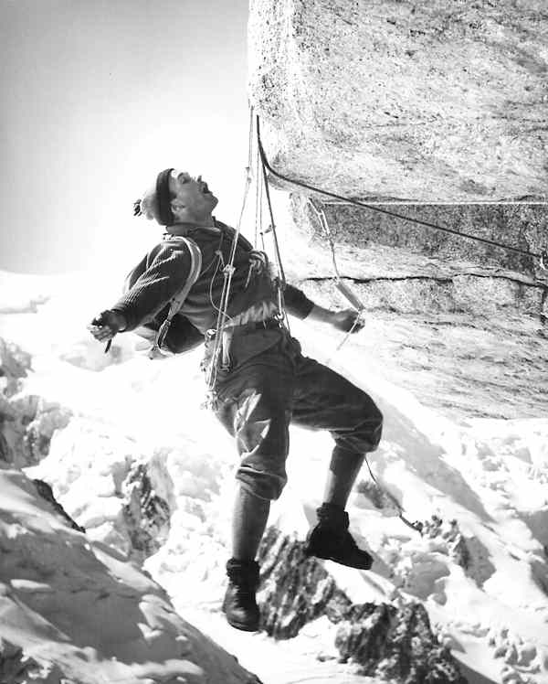 Alpine climber Lionel Terray in high mountains